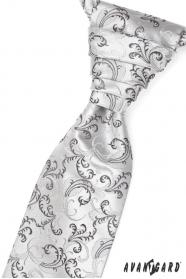 Svatební kravata černošedé motivy