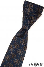 Elegantní modrá svatební kravata vzorovaná