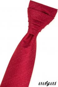 Červená francouzská kravata v sadě s kapesníčkem