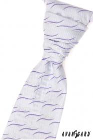Svatební kravata s kapesníčkem lila vlnky