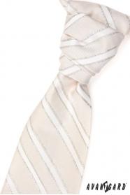 Svatební kravata béžová stříbrné proužky