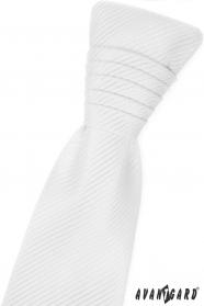 Bílá francouzská kravata s lesklými proužky