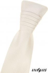 Francouzská kravata smetanové barvy s pruhovanou strukturou a kapesníčkem