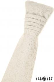Francouzská kravata smetanové barvy s kapesníček - stříbrný vzor