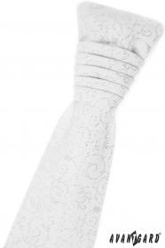 Bílá francouzská kravata s lesklými ornamenty