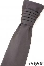 Matná šedá svatební kravata regata