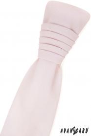 Francouzská kravata s kapesníčkem - růžová blush