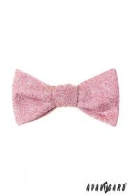 Vázací motýlek Paisley v pudrově růžové s kapesníčkem