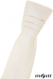 Chlapecká francouzská kravata smetanová s proužkem
