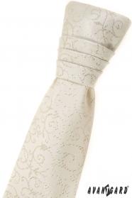 Chlapecká francouzská kravata smetanová se vzorem