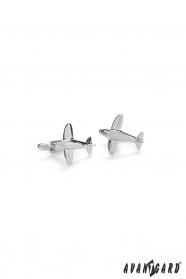 Manžetové knoflíčky Letadlo stříbrné