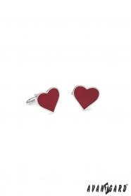 Manžetové knoflíčky stříbrné - červené srdce