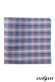 Kostkovaný pánský kapesníček modro-růžový