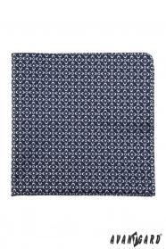 Modrý pánský kapesníček s pravidelnými bílými květy