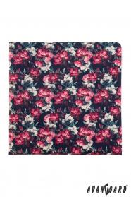 Modrý kapesníček s růžovými květy