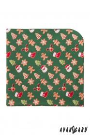 Zelený kapesníček s vánočním vzorem