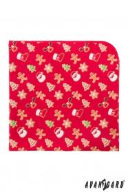 Červený kapesníček se vzorem vánoční perníčky