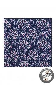 Modrá kapesníček s růžovými květy