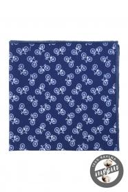 Modrý bavlněný kapesníček vzor jízdní kolo