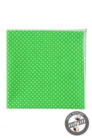 Pánský kapesníček zelená s bílým puntíkem