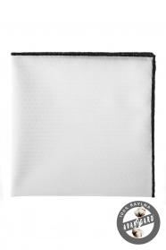 Bílý kapesníček 100% bavlna černý okraj
