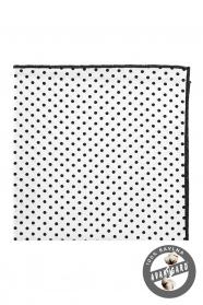 Bavlněný pánský kapesníček bílý s černými puntíky