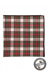 Kostkovaný kapesníček z bavlny zelená červená bílá