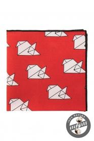 """Bavlněný kapesníček červený """"origami"""""""