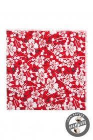Bavlněný kapesníček červený bílé květy