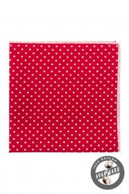 Bavlněný kapesníček červený s bílým puntíkem