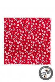 Červený kapesníček do saka s bílými květy