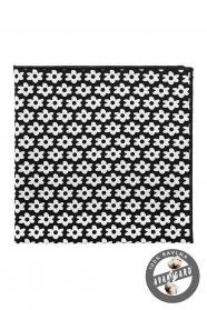 Výrazný černý pánský kapesníček z bavlny - bílé květy