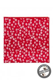 Červený bavlněný kapesníček různě velké bílé květy