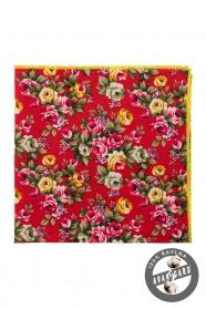 Bavlněný kapesníček výrazné růžové a žluté květy