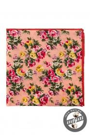 Bavlněný pánský kapesníček Žluté a růžové květy