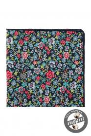 Tmavě modrý kapesníček s barevnými květy