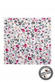 Smetanový pánský kapesníček, květinový vzor
