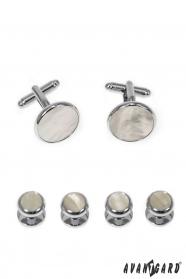 Sada knoflíčků do frakové košile stříbrné perleťové