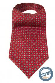Červený Askot s květinovým vzorem