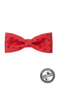 Motýlek bavlněný červený modré hvězdičky