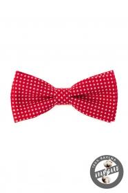 Červený pánský motýlek z bavlny bílé hvězdy