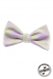 Vázací motýlek fialový kostkovaný Bavlna