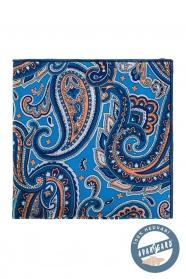 Kapesníček z hedvábí paisley modrý oranžový