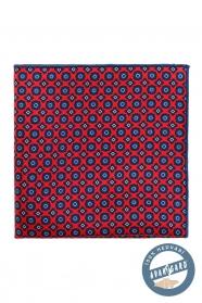 Červený kapesníček hedvábný modrý vzor