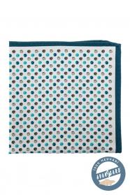 Kapesníček hedvábný modré a tyrkysové puntíky