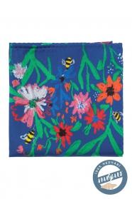 Kapesníček hedvábný Včely a květy