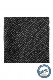 Černý hedvábný kapesníček s šedým vzorem