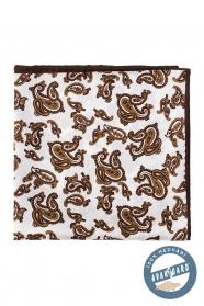 Hedvábný kapesníček s hnědým motivem Paisley