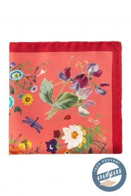 Hedvábný kapesníček s květinovým vzorem - Korálová barva