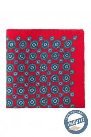 Červený hedvábný kapesníček s modrým vzorem